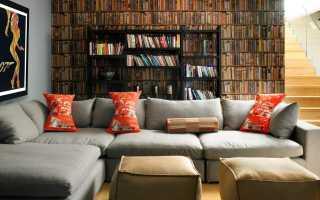 Угловой диван возле окна интерьер