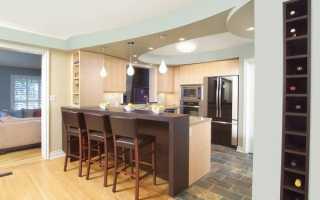 Дизайн потолков в гостиной совмещенной с кухней