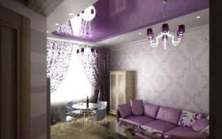 Лиловый потолок в интерьере