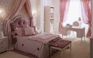 Интерьер спальни в розовых тонах